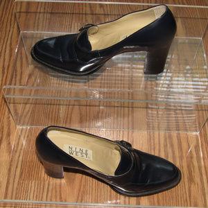 NINE WEST Navy Leather Loafer Pumps Heels Size 8M